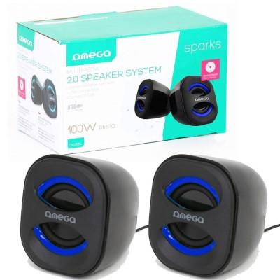 CASSE ACUSTICHE USB 2.0 OG115BL PER PC e MP3 CON JACK 3,5mm E POTENZA 6 WATTS (3Wx2) RMS COLORE NERO E BLU OMEGA BLISTER