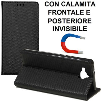 CUSTODIA per HUAWEI ENJOY 5, Y6 PRO, HONOR PLAY 5X - FLIP ORIZZONTALE con CHIUSURA MAGNETICA INVISIBILE ED INTERNO IN TPU NERO