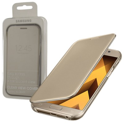 CUSTODIA ORIGINALE per SAMSUNG SM-A520 GALAXY A5 (2017) - CLEAR VIEW CON ACCESSO AL DISPOSITIVO CON COVER CHIUSA ORO BLISTER
