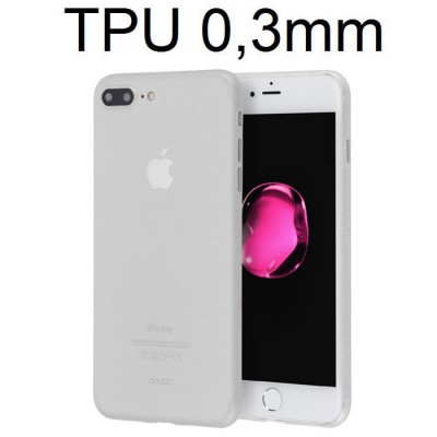 CUSTODIA per APPLE IPHONE 7 PLUS, IPHONE 8 PLUS IN GEL TPU SILICONE ULTRA SLIM 0,3mm COLORE BIANCO OPACO