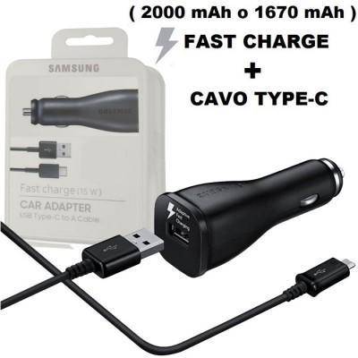 CARICATORE AUTO USB ORIGINALE FAST CHARGE CON 1 PORTA USB (2000 mAh O 1670 mAh) + CAVO TYPE-C NERO BLISTER SEGUE COMPATIBILITA'.