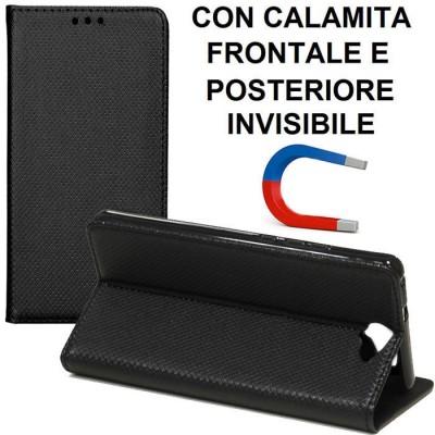 CUSTODIA per HTC ONE A9s - FLIP ORIZZONTALE con CHIUSURA MAGNETICA INVISIBILE, INTERNO IN TPU SILICONE E STAND COLORE NERO