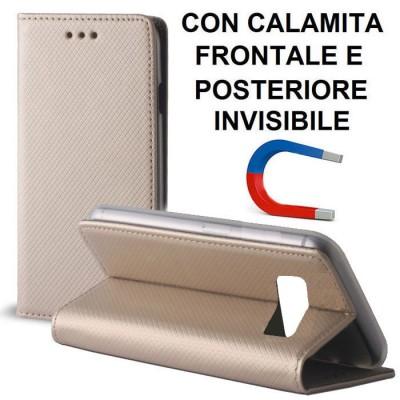 CUSTODIA per SAMSUNG SM-G955 GALAXY S8 PLUS - FLIP ORIZZONTALE CON CHIUSURA MAGNETICA INVISIBILE ED INTERNO IN TPU COLORE ORO