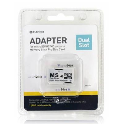 ADATTATORE DA MICRO SD A MEMORY STICK PRO DUO 128 GB (CAPACITA' TOTALE) CON DOPPIO SLOT PER 2 MEMORY CARD MICRO SD BLISTER