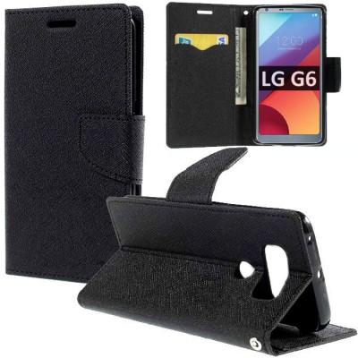 CUSTODIA per LG G6, H870, G6 DUAL SIM H870DS - FLIP ORIZZONTALE CON INTERNO IN TPU SILICONE, STAND E CHIUSURA MAGNETICA COLORE N