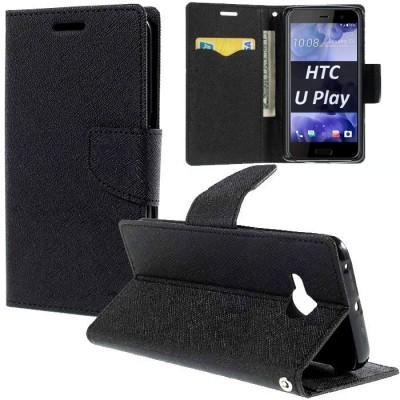 CUSTODIA per HTC U PLAY - FLIP ORIZZONTALE CON INTERNO IN TPU SILICONE, STAND, PORTA CARTE E CHIUSURA MAGNETICA COLORE NERO