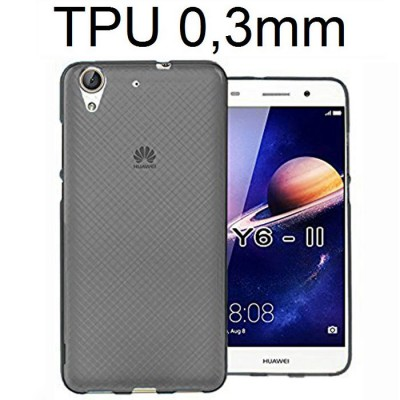 CUSTODIA per HUAWEI Y6 II, HONOR 5A, HONOR HOLLY 3 IN GEL TPU SILICONE ULTRA SLIM 0,3mm COLORE NERO TRASPARENTE