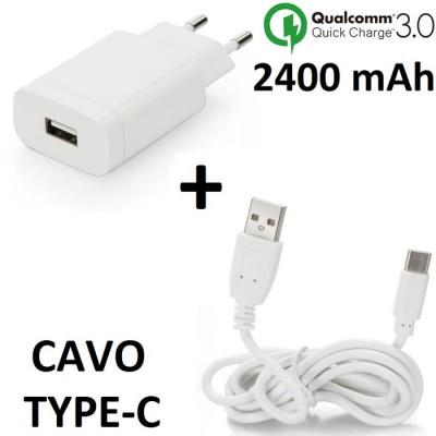 TRAVEL CASA USB 2400 mAh FAST CHARGING (RICARICA VELOCE) 3.0 + CAVO TYPE-C per SAMSUNG SM-G955 GALAXY S8 PLUS BIANCO