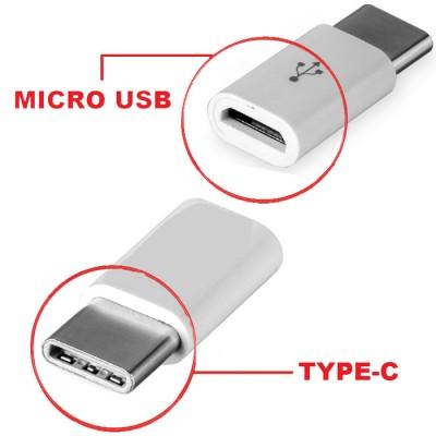 ADATTATORE DA MICRO USB A TYPE-C COLORE BIANCO
