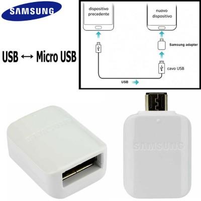 ADATTATORE ORIGINALE SAMSUNG EE-UG930 DA USB A MICRO USB PER TRASFERIMENTO DATI COLORE BIANCO BULK SEGUE COMPATIBILITA'..