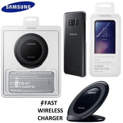 STARTER KIT ORIGINALE per SM-G950 GALAXY S8 CON TRAVEL CASA WIRELESS FAST CHARGER STAND, CLEAR COVER E SCREEN PROTECTOR