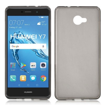 CUSTODIA per HUAWEI NOVA LITE PLUS, Y7, ENJOY 7 PLUS IN GEL TPU SILICONE COLORE NERO TRASPARENTE