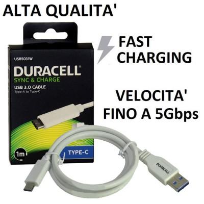 CAVO USB TYPE-C 3.0 FAST CHARGER per SAMSUNG GALAXY S8 (SM-G950) CON VELOCITA' FINO A 5Gbps LUNGHEZZA 1 MT COLORE BIANCO