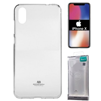 CUSTODIA per APPLE IPHONE X, IPHONE XS (5.8') IN GEL TPU SILICONE TRASPARENTE ALTA QUALITA' MERCURY BLISTER