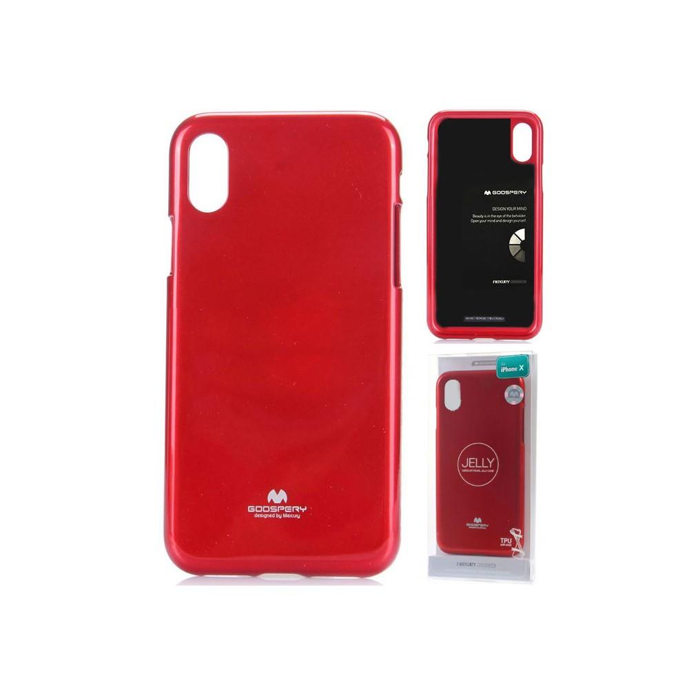 CUSTODIA per APPLE IPHONE X, IPHONE XS (5.8') IN GEL TPU SILICONE COLORE ROSSO LUCIDO ALTA QUALITA' MERCURY BLISTER