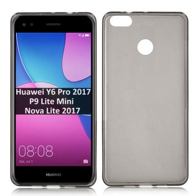CUSTODIA per HUAWEI Y6 PRO 2017, P9 LITE MINI, NOVA LITE 2017 IN GEL TPU SILICONE COLORE NERO TRASPARENTE