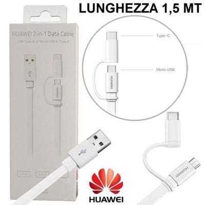 CAVO USB 2 IN 1 ORIGINALE HUAWEI CON DOPPIO ATTACCO TYPE-C E MICRO USB LUNGHEZZA 1.5 MT COLORE BIANCO BLISTER SEGUE COMPATIBILIT