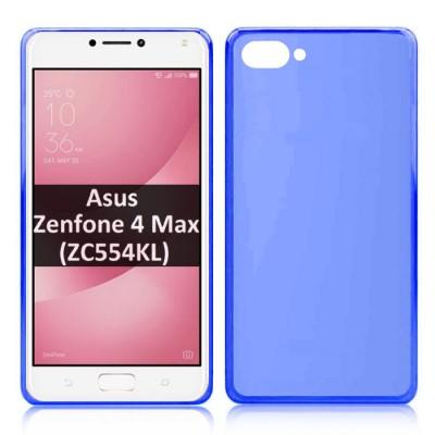 CUSTODIA per ASUS ZENFONE 4 MAX (ZC554KL), 5.5' POLLICI IN GEL TPU SILICONE COLORE BLU TRASPARENTE