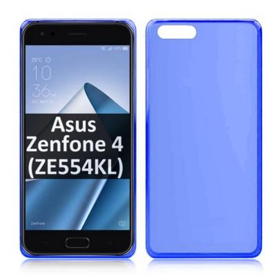 CUSTODIA per ASUS ZENFONE 4 (ZE554KL) - 5.5' POLLICI IN GEL TPU SILICONE COLORE BLU TRASPARENTE