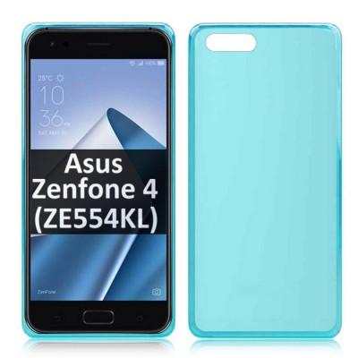 CUSTODIA per ASUS ZENFONE 4 (ZE554KL) - 5.5' POLLICI IN GEL TPU SILICONE COLORE AZZURRO TRASPARENTE