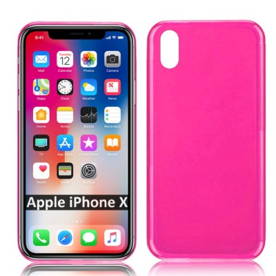CUSTODIA per APPLE IPHONE X, IPHONE XS (5.8') IN GEL TPU SILICONE COLORE ROSA TRASPARENTE
