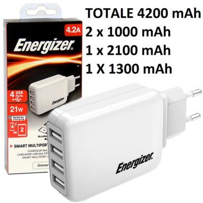 TRAVEL CASA CON QUATTRO PORTE USB 4200mAh TOTALI ( 2 x 1000 mAh, 1 x 1300 mAh, 1 x 2100 mAh ) COLORE BIANCO ENERGIZER BLISTER