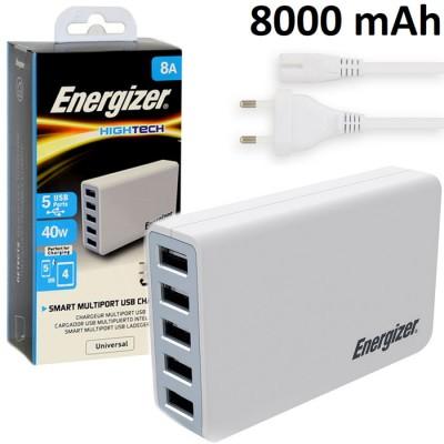 TRAVEL CASA CON CINQUE PORTE USB 8000 mAh TOTALI ( 2400 mAh PER PORTA ) COLORE BIANCO ALTA QUALITA' ENERGIZER BLISTER
