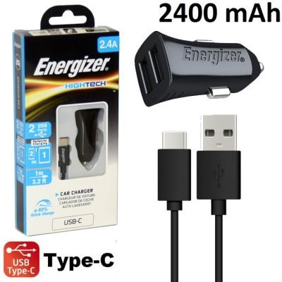 CAVO AUTO 2400 mAh CON DOPPIA PORTA USB + CAVO USB TYPE-C 2.0 per SAMSUNG GALAXY NOTE 8 (SM-N950) LUNGHEZZA 1MT NERO ENERGIZER