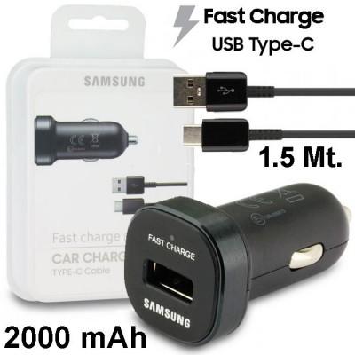 CARICATORE AUTO MINI 2000 mAh FAST CHARGE CON 1 PORTA USB ORIGINALE SAMSUNG + CAVO TYPE-C LUNGHEZZA 1,5 MT COLORE NERO BLISTER