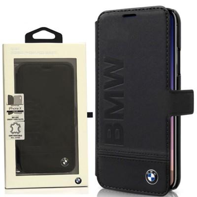 CUSTODIA FLIP ORIZZONTALE VERA PELLE BMW per APPLE IPHONE X, IPHONE XS (5.8') CHIUSURA MAGNETICA E LOGO BMW COLORE NERO BLISTER