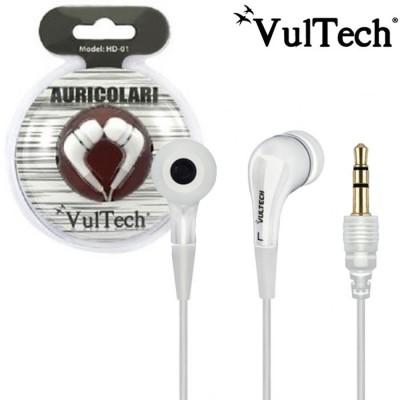 AURICOLARE STEREO IN SILICONE CON JACK 3,5mm per IPOD, MP3, MP4, SMARTPHONE E TABLET COLORE BIANCO HD-01W VULTECH BLISTER