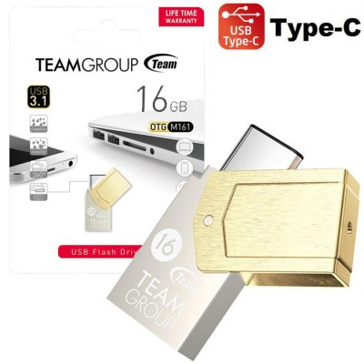 PEN DRIVE 16 GB USB 3.0 A TYPE-C CON TECNOLOGIA OTG E CORPO IN METALLO TM161316GD01 M161 TEAMGROUP BLISTER