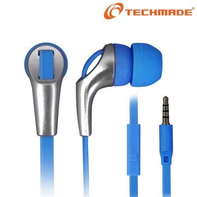 AURICOLARE STEREO per MP3 E MP4 JACK DA 3,5 mm COLORE AZZURRO E SILVER TM-IP002 TECHMADE BLISTER