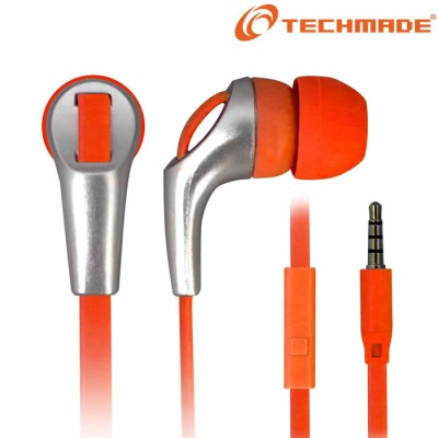 AURICOLARE STEREO per MP3 E MP4 JACK DA 3,5 mm COLORE ARANCIONE E SILVER TM-IP002 TECHMADE BLISTER