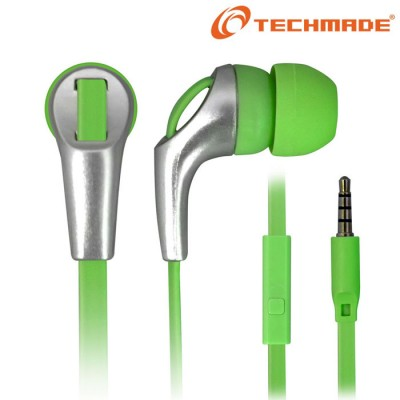 AURICOLARE STEREO per MP3 E MP4 JACK DA 3,5 mm COLORE VERDE E SILVER TM-IP002 TECHMADE BLISTER