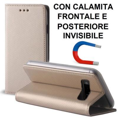 CUSTODIA per SAMSUNG GALAXY NOTE 8 (SM-N950) - FLIP ORIZZONTALE CON CHIUSURA MAGNETICA INVISIBILE ED INTERNO IN TPU COLORE ORO