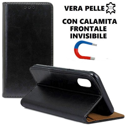 CUSTODIA per APPLE IPHONE X, IPHONE XS (5.8') - FLIP ORIZZONTALE VERA PELLE CON CHIUSURA MAGNETICA INVISIBILE E INTERNO IN TPU N