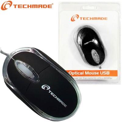 MOUSE OTTICO USB DA 800 Dpi CON TECNOLOGIA PLUG & PLAY COLORE NERO TM-2023 TECHMADE BLISTER