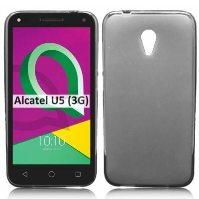 CUSTODIA per ALCATEL U5 3G (NO 4G) - 5' POLLICI IN GEL TPU SILICONE COLORE NERO TRASPARENTE