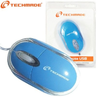 MOUSE OTTICO USB DA 800 Dpi CON TECNOLOGIA PLUG & PLAY COLORE BLU TM-2023-BL TECHMADE BLISTER