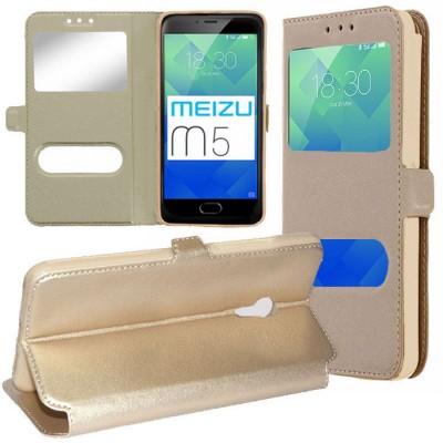 CUSTODIA per MEIZU M5 - FLIP ORIZZONTALE SIMILPELLE CON INTERNO IN TPU E DOPPIA FINESTRA ID COLORE ORO