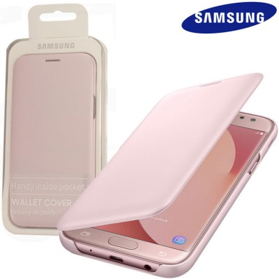 CUSTODIA per SAMSUNG SM-J530 GALAXY J5 (2017) - WALLET COVER ORIGINALE COLORE ROSA EF-WJ530CPEGWW BLISTER