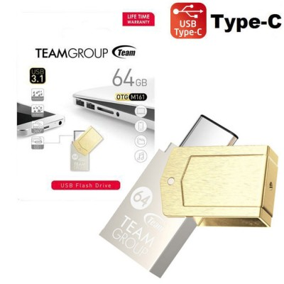 PEN DRIVE 64GB USB 3.1 A TYPE-C CON TECNOLOGIA OTG E CORPO IN METALLO TM161364GD01 M161 TEAMGROUP BLISTER