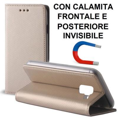 CUSTODIA per SAMSUNG GALAXY A8 PLUS (SM-A730) - FLIP ORIZZONTALE CON CHIUSURA MAGNETICA INVISIBILE ED INTERNO IN TPU ORO