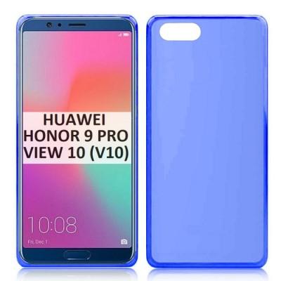CUSTODIA per HUAWEI HONOR 9 PRO, HONOR VIEW 10,  HONOR V10 IN GEL TPU SILICONE COLORE BLU TRASPARENTE