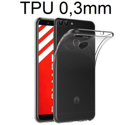 CUSTODIA per HUAWEI P SMART, ENJOY 7S IN GEL TPU SILICONE ULTRA SLIM 0,3mm TRASPARENTE