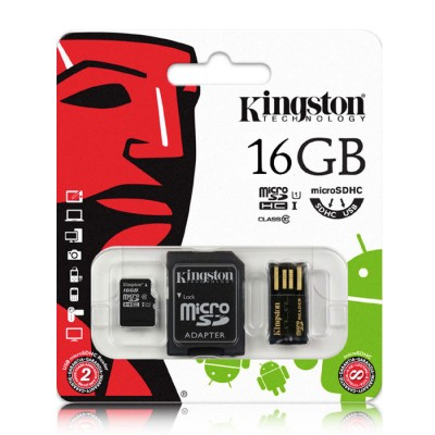KIT MEMORY CARD MICRO SDXC 16GB CLASSE 10 + ADATTATORE MICRO SD + LETTORE DI MEMORIE USB 2.0 - MBLY10G2/16GB KINGSTON BLISTER