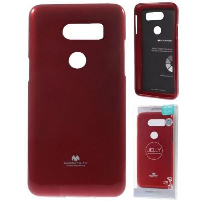 CUSTODIA per LG V30 (H930), V30+ (H930G), V30S THINQ IN GEL TPU SILICONE COLORE ROSSO LUCIDO CON GLITTER ALTA QUALITA' MERCURY