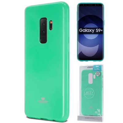 CUSTODIA per SAMSUNG GALAXY S9 PLUS (SM-G965) IN GEL TPU SILICONE COLORE VERDE ACQUA LUCIDO CON GLITTER ALTA QUALITA' MERCURY