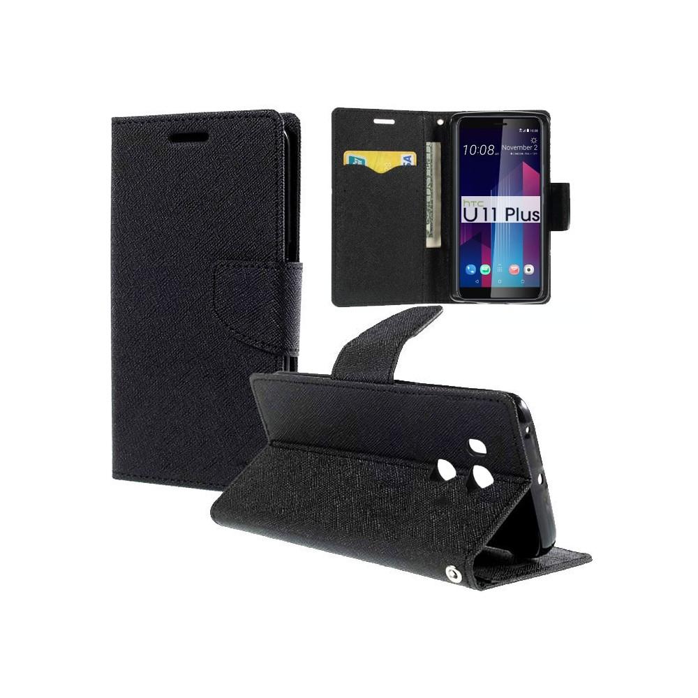 CUSTODIA per HTC U11 PLUS - FLIP ORIZZONTALE CON INTERNO IN TPU SILICONE, STAND, PORTA CARTE E CHIUSURA MAGNETICA COLORE NERO